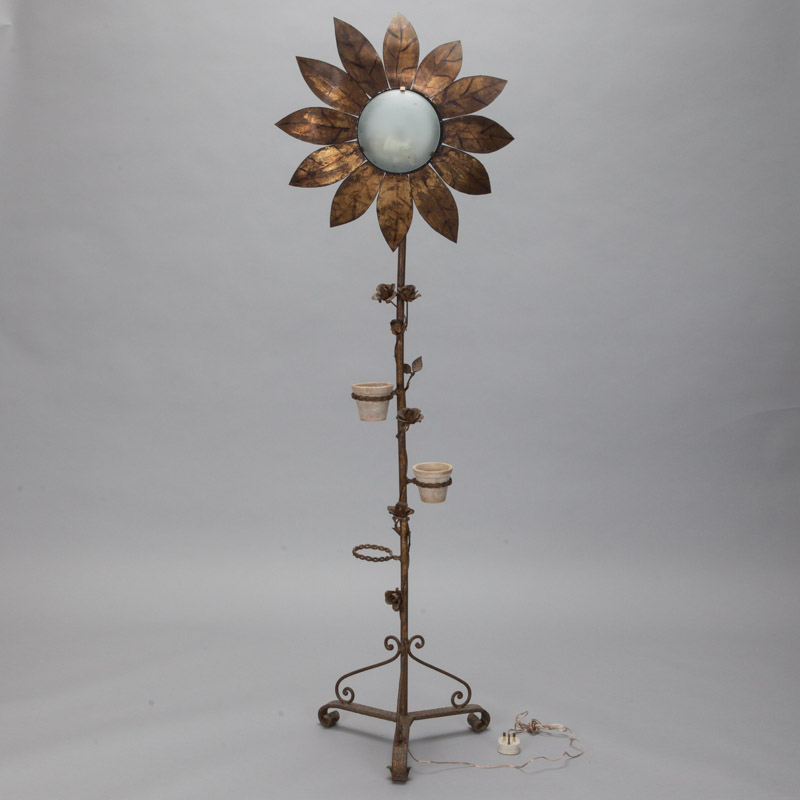 Spanish Gilt Metal Sunflower Floor Lamp Item 5870