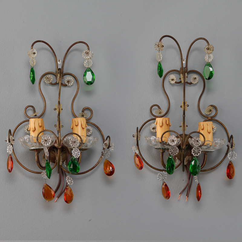 Pair Two Light Italian Metal Sconces with Colored Glass Drops - Item:6210
