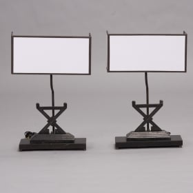 Photo of antique Pair Firedog Table Lamps