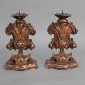Photo of antique Italian Large Bronze Carved Wood Candle Holder Amphoras