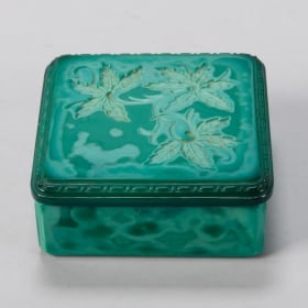Photo of antique Czech Square Malachite Glass Box