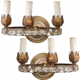 Photo of antique Pair Three Light Oval Crystal Beads Sconces